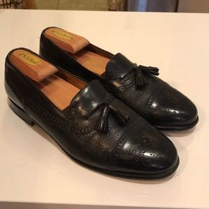 Mezlan black leather tassel loafers men's 9
